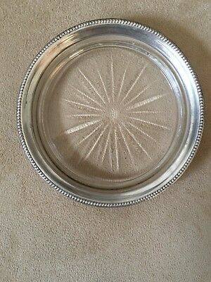"Frank M. Whiting Co. Antique Glass & Sterling Silver 4 3/8"" Wine Coaster"