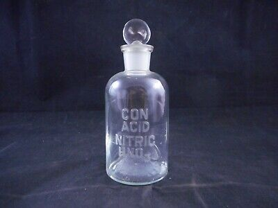 WHEATON Glass 250mL Apothecary Bottle CON ACID NITRIC HNO3 Labeled with Stopper