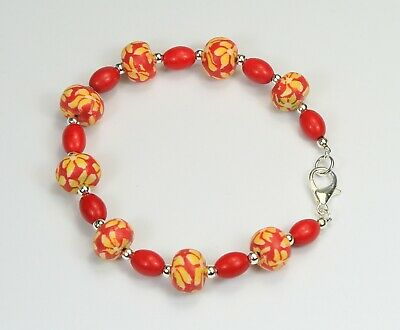 Red & yellow flower fimo clay bead & dyed red howlite bracelet silver balls