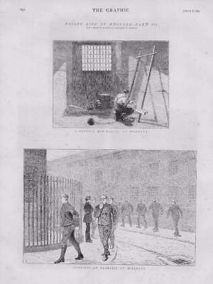 1873 - Antique Print LONDON Millbank Prison Convict Mat Making Exercise  (141)