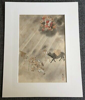 19Th Century Japanese Toshu? Original Watercolor Painting On Board With Signed