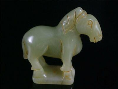 Antique Old Chinese Nephrite Celadon Jade Netsuke Pendant Toggle Statue Horse