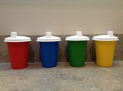 New TUPPERWARE Set of 4 Sippy Cups W//Sipper Seal® Domed Sippie Bell Tumblers #3