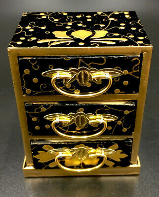 Japanese Hina Doll Lacquer ware Miniature Furniture Vtg Chest Box Wooden..