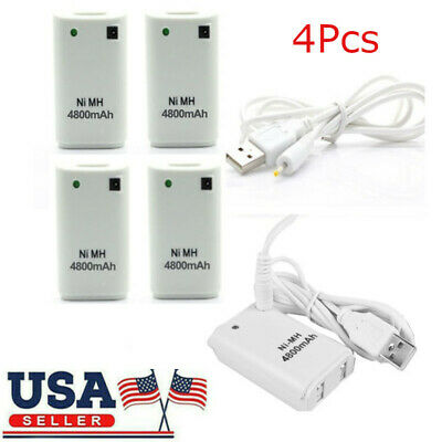 4X White 4800mAh Rechargeable Battery Pack for USB XBOX 360 Wireless Controller
