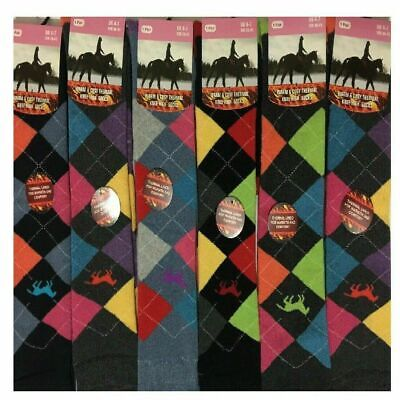 Ladies Knee High Horse Argyle riding Skiing Warm Winter Thermal Long socks 4-7
