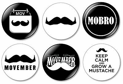 6 x Movember 32mm BUTTON PIN BADGES Mo Mens Health Moustache Support Movember