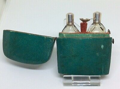 Superb Georgian c1790 Solid Silver Double Scent Perfume Bottle Shagreen Case
