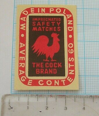 THE COCK BRAND - vintage matchbox label from Poland - USED - RARE