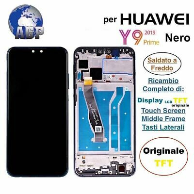Display LCD Touch Screen Middle Frame HUAWEI Y9 2019 JKM-LX1 LX2 Nero ORIGINALE