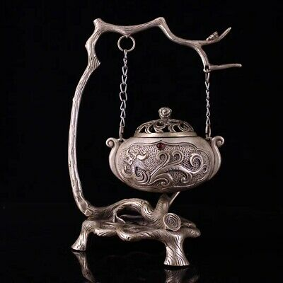 Collectible China tibet Silver carved Hanging furnace statue Incense Burner