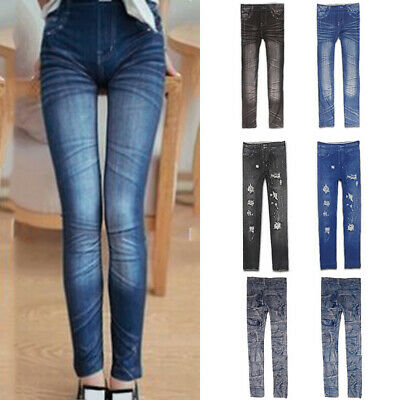 Womens High Waisted Stretchy Skinny Jeans Ladies Denim Look Jeggings Pants