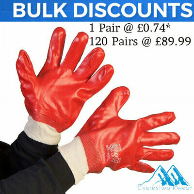 1 x Pair Of Blackrock PVC Red Work Safety Gloves Fully Coated 8401000