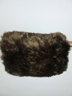 "VINTAGE RETRO BROWN FUR HAND MUFF FULLY LINED WIDTH 10"" LENGTH 7"" m37"