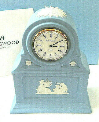 Wedgwood Blue Clock Jasper Mantle Desk Table Boxed Small