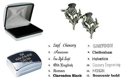 Pewter Scottish Thistle Cufflinks + Personalised Engraved Case XWCL073-DCB