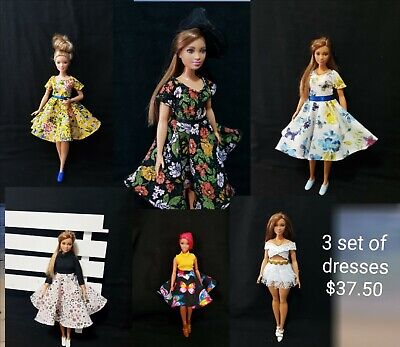 Curvy white sleeve and denim skirt for Your Curvy Barbie Doll Au Made