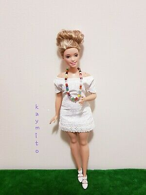 New Curvy white floral dress for Your Curvy Barbie Doll Au Made