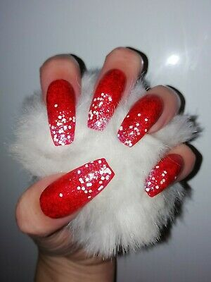 Hand Painted False Nails Glitter Red Snow Glitter Sparkle Christmas Party