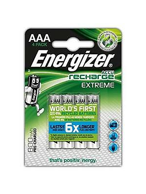 Energizer EXTREME AAA RECHARGEABLE BATTERIES 800mAh 4 PACK