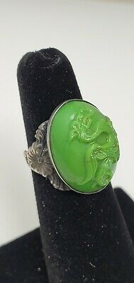 Antique Chinese Sterling Silver Carved Green Jade Stone Dragon Ring sz 4.75