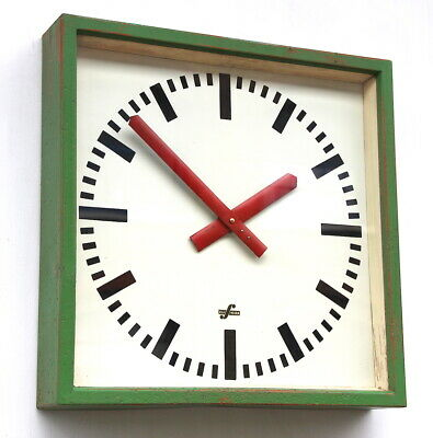 LARGE 1950s  East German Midcentury Vintage Retro Industrial Factory Wall Clock