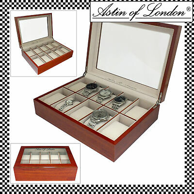 Astin Of London Wooden 10 Slot Watch Storage Box Display Case Watchbox Organiser