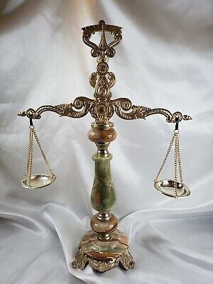 Vintage Brass Balance Weighing Scale of Justice Marble Stone Antique Pan