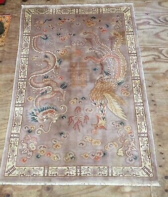 Vintage Chinese Handwoven Inscribed Carpet With Light Purple Colour Field