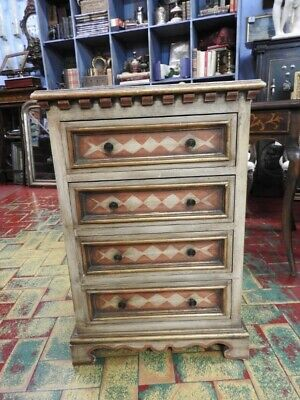 Original Cabinet Small Chest of Drawers Venetian Lacquered & Painted of 900