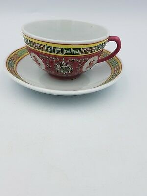 Chinese Jingdezhen Famille Rose Pink Red Cup Saucer Chinese Characters Greek Key