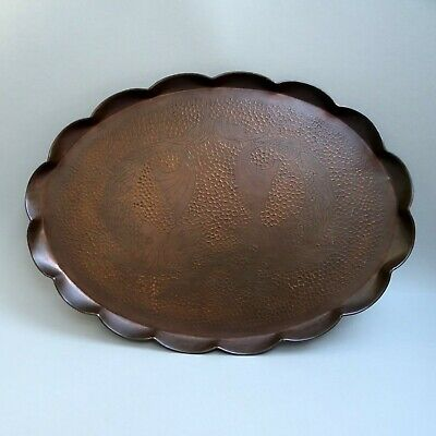 """Large 23"""" Antique Copper Tray ~ Arts & Crafts Dolphin ~ Hand Chased Art Nouveau"""