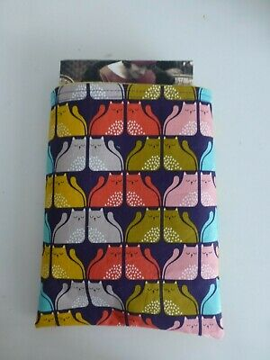 Red*Pink*Olive*Mustard Cats with Yellow lining Book Buddy*Padded Fabric sleeve