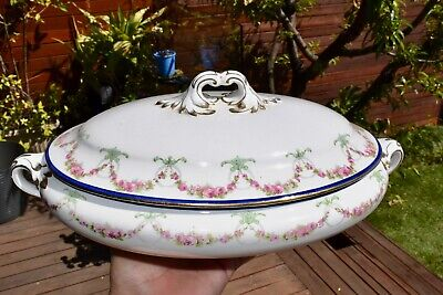 Early C20th Antique Booths Silicon China Lidded Tureen - Roses & Swags