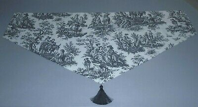 Waverly Ascot Valance French Country w/ Tassle, Black/Cream Dimensions in Listin