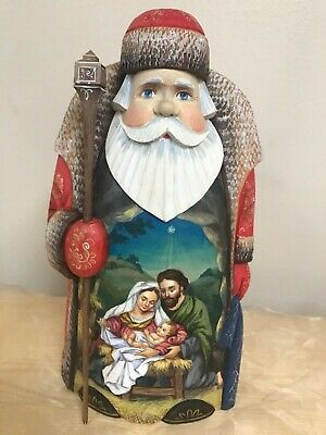 Russian Hand carved Santa NATIVITY Beautiful piece for your Collection or Gift!