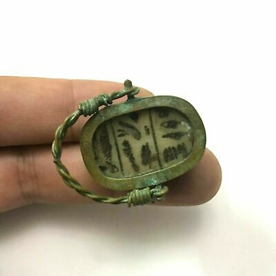 ancient Egyptian Copper ring with stone scarab size 8.5 Egypt 1069–664 BC c