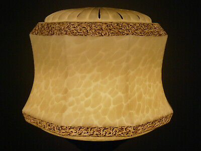 Large Deco Vintage Mottled Glass Pendant Light Shade, Gallery & Chain 1920-30's