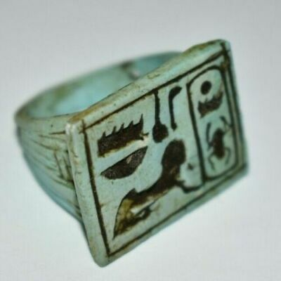 ancient Egyptian stone ring with  Hieroglyphs size 8.5 Egypt 1069–664 BC f