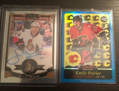 hockey cards / 2015-16 opc platinum Rookie Auto Blue Rainbow Poirier/prince Lot