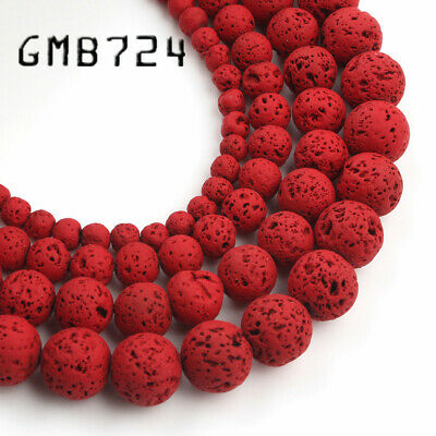 4/6/8/10mm Natural Red Hematite Lava Stone Round Beads Spacer Loose Matte Beads