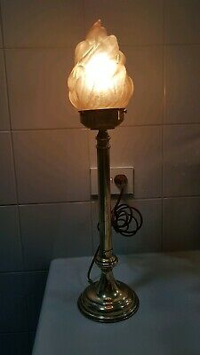 """Antique Brass Lamp With Original Flame Glass. """" Big """" Good Wiring, Ready To Use."""