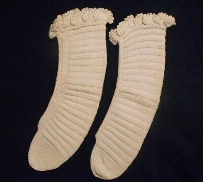 Antique Vintage Child Socks Wool Knit Ruffled crocheted top Ivory