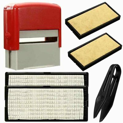 Name Address Self-Inking Rubber Stamp Kit Ink Stamper Text Office Print Business