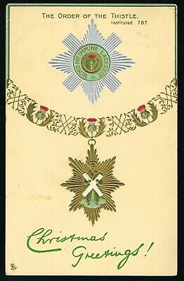 ANTIQUE 1906 THE ORDER OF THE THISTLE 'Christmas Greetings' POSTCARD used