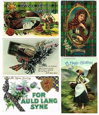 5 x ANTIQUE SCOTTISH THEMED CHRISTMAS / NEW YEAR POSTCARDS c.1905-10