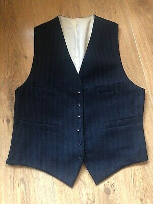 Vintage 1950s Mens Waistcoat Blue Striped Patterned Front.