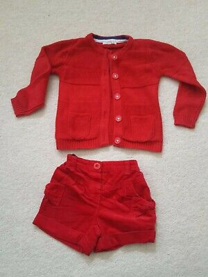 Girls Red Shorts and Cardigan Set age 3-4