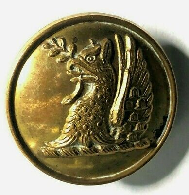 19th Century livery Button Dragon Holding A Branch 25 mm Firmin Gilt
