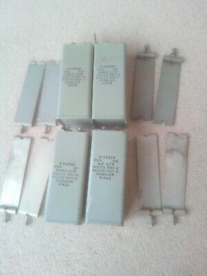 4 Capacitors PIO Dubilier made 1950's 4 uf 4 mfd 800v with fixings tested good